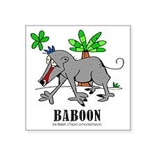"Cartoon Baboon by Lorenzo T Square Sticker 3"" x 3"""