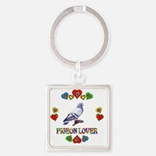 Pigeon Lover Square Keychain