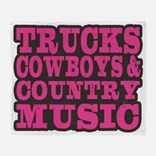 Trucks, Cowboys And Country Music Throw Blanket