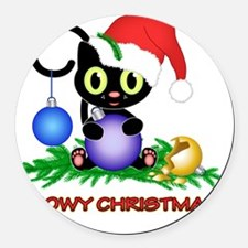 Meowy Christmas Round Car Magnet