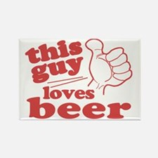 This Guy Loves Beer Rectangle Magnet