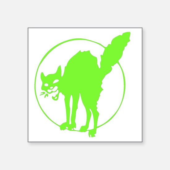 "Glowing Go Green Kitty Square Sticker 3"" x 3"""