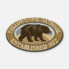Yellowstone Brown Bear Badge Oval Car Magnet