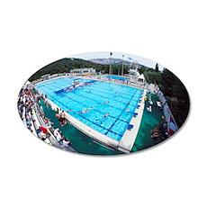 Underwater hockey match 35x21 Oval Wall Decal