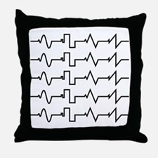 HeartzBeat EKG [BLACK] Throw Pillow