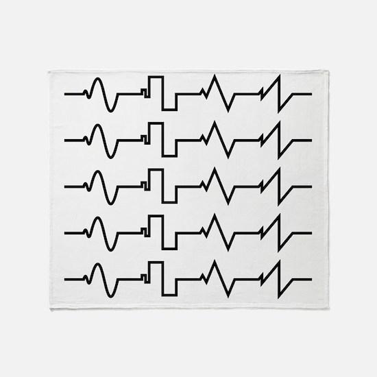 HeartzBeat EKG [BLACK] Throw Blanket