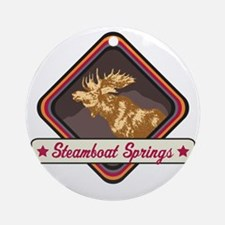 Steamboat Springs Pop-Moose Patch Round Ornament