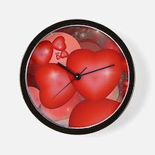 Fractal Hearts Wall Clock