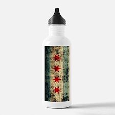 Chicago Flag Grunge Ga Sports Water Bottle