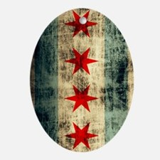 Chicago Flag Grunge Galaxy Note Oval Ornament