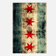 Chicago Flag Grunge Galax Postcards (Package of 8)