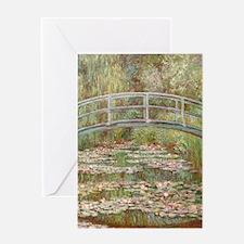 Monet Bridge over a pond of Water Li Greeting Card