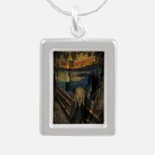 The Scream Grunge Paint  Silver Portrait Necklace