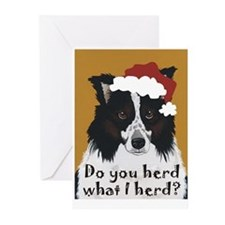 Border Collie DO YOU HERD? Greeting Cards (Package