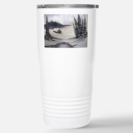 Snowbound Cabin Stainless Steel Travel Mug
