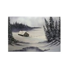 Snowbound Cabin Rectangle Magnet