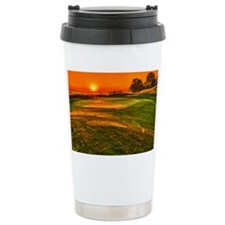 Sunrise over 15 green Travel Coffee Mug
