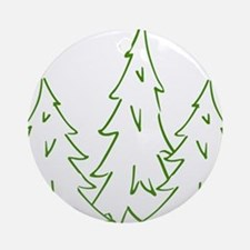 Three Pine Trees Round Ornament