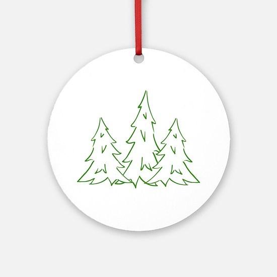 Three Pine Trees Round Ornament