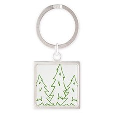 Three Pine Trees Square Keychain