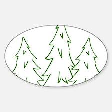 Three Pine Trees Sticker (Oval)