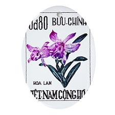 1965 Vietnam Cattleya Orchid Stamp Oval Ornament