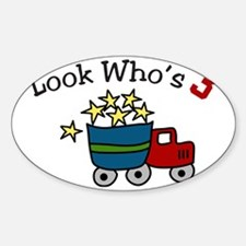 Look Who's 3 Sticker (Oval)