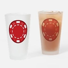 Red Poker Chip Drinking Glass