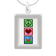 Peace Love Chickens Silver Portrait Necklace