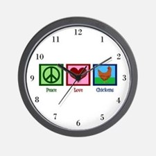 Peace Love Chickens Wall Clock