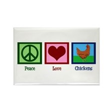 Peace Love Chickens Rectangle Magnet