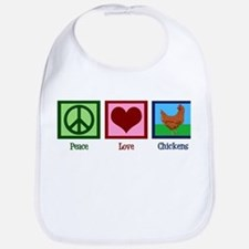 Peace Love Chickens Bib
