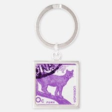 1961 Argentina Puma Postage Stamp Square Keychain