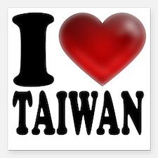 "I Heart Taiwan Square Car Magnet 3"" x 3"""
