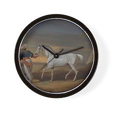 White Arabian Horse Wall Clock