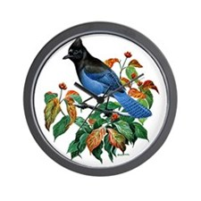 A Blue Stellers Jay in Dogwood Tree Wall Clock