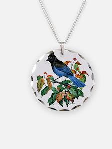 A Blue Stellers Jay in Dogwo Necklace