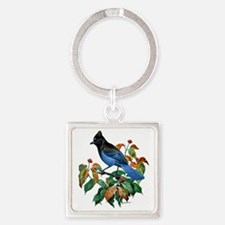 A Blue Stellers Jay in Dogwood Tre Square Keychain
