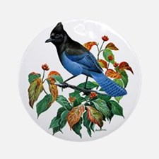A Blue Stellers Jay in Dogwood Tree Round Ornament