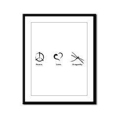 Peace. Love. Dragonfly. Framed Panel Print