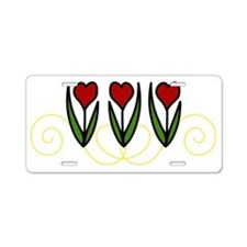 Red Tulips Aluminum License Plate