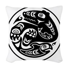 Native American Bear and Fish Woven Throw Pillow
