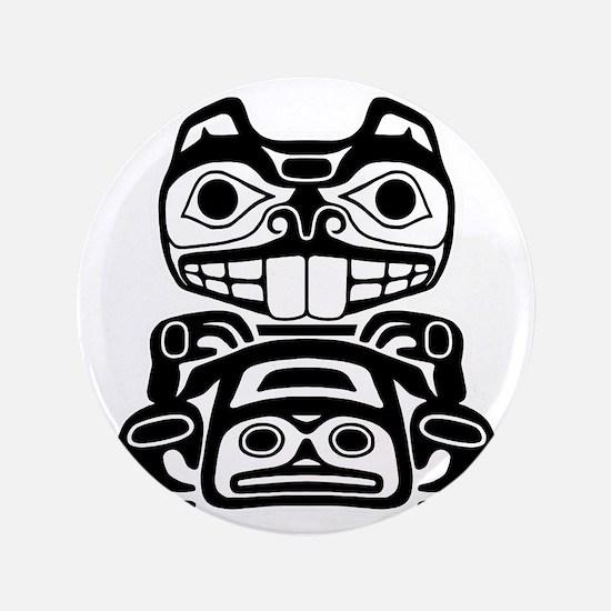 "Native American Beaver 3.5"" Button"
