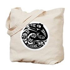 Native American Bear and Fish Tote Bag