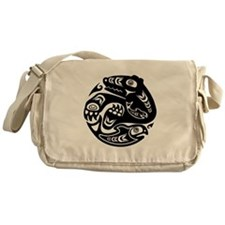 Native American Bear and Fish Messenger Bag