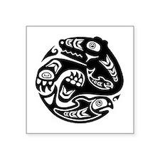 "Native American Bear and Fi Square Sticker 3"" x 3"""