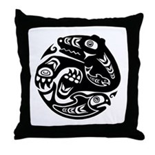 Native American Bear and Fish Throw Pillow