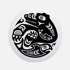 Native American Bear and Fish Round Ornament