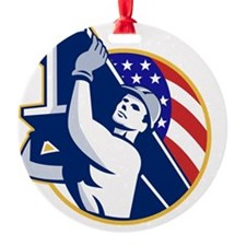 Construction Steel Worker I-Beam Am Ornament