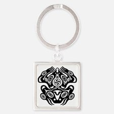 Native American Frog Square Keychain